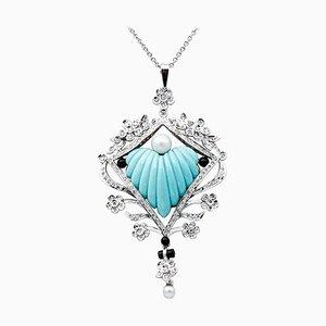 Collar de diamantes, perlas, ónix, turquesa, oro blanco de 18 kt y platino