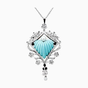 Halskette aus Diamant, Perle, Onyx, Türkis, 18 Karat Weißgold und Platin