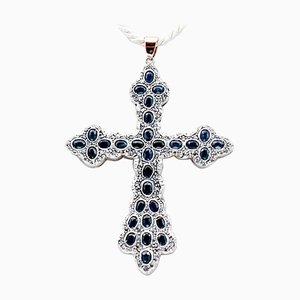 Blue Sapphire, Diamond, 9 Karat Rose Gold and Silver Cross Pendant Necklace