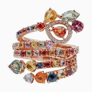 Bague Saphir Multicolore, Diamant et Or Rose 18 Carats