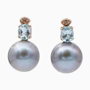 Graue Perle, Diamant, Aquamarin & 14 Karat Roségold Perlenohrringe, 2er Set
