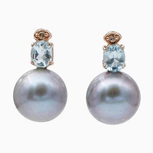 Gray Pearl, Diamond, Aquamarine & 14 Karat Rose Gold Bead Earrings, Set of 2