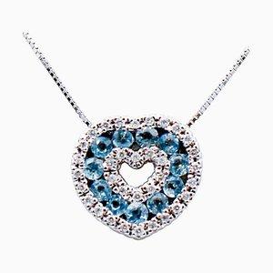 Collier pendentif coeur en or blanc 18 carats, diamants et aigue-marine