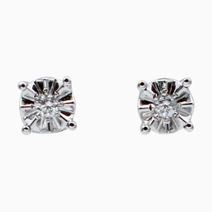 Orecchini con diamanti bianchi e oro bianco a 18 carati