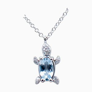 Collana ovale a forma di acquamarina, diamanti bianchi in oro bianco 18 carati