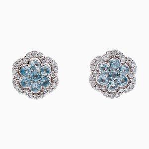 Orecchini con acquamarina, diamanti e oro bianco a 18 carati