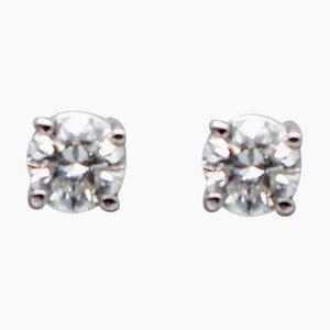 White Diamonds and 18 Karat White Gold Stud Earrings