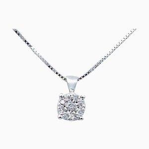 Collana con ciondolo in oro bianco e diamanti a 18 carati