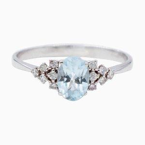 Anello di fidanzamento in acquamarina, diamanti bianchi e oro bianco a 18 carati