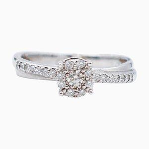 Anello solitario in oro bianco e diamanti a 18 carati