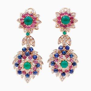 Orecchini pendenti in oro rosa, diamanti, rubini, smeraldi, 14 carati, set di 2