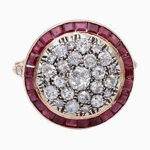 Anello retrò con rubini, diamanti e oro rosa a 14 carati