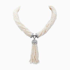 Collier Torchon Perle, Diamant et Or Blanc 14 Carats