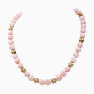 Pink Coral & 18 Karat Yellow Gold Necklace