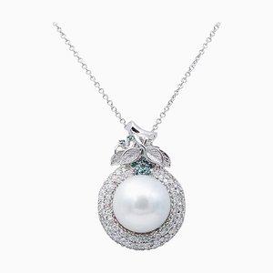 Collana con diamanti bianchi, perla dei mari del sud e oro bianco a 18 carati