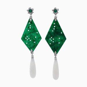 Orecchini pendenti con diamanti, smeraldo, agata verde, corallo bianco e oro bianco 18 carati, set di 2