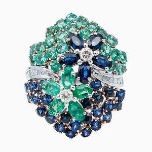 Anello da cocktail in oro bianco a 14 carati con diamanti, smeraldi, zaffiri blu