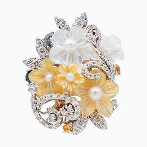 Anello in oro bianco a 14 carati con zaffiri multicolori, diamanti, perle