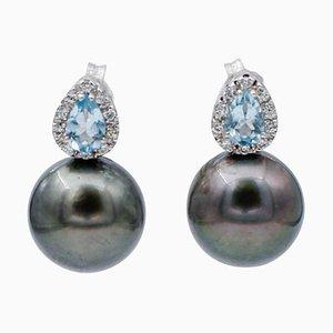Orecchini acquamarina, diamanti, perle grigie e oro bianco 14 carati