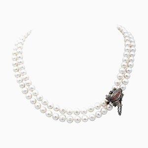 Diamant, Rubin, Saphir, Perle, 9 Karat Roségold und Silber Perlen Halskette