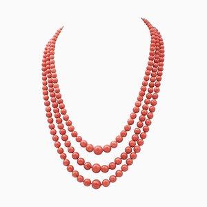 Antike italienische Korallen Halskette