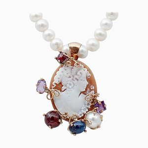 Amethysts, Garnets, Stone Pearls and 9 Karat Rose Gold and Silver Cameo Pendant Necklace