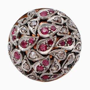Anello a cupola in oro rosa, 14 carati e argento con diamanti, rubini