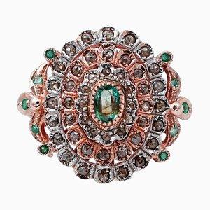 Anello retrò in oro rosa e argento con smeraldi, diamanti e 9 carati