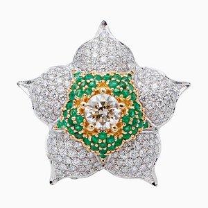 Anello floreale in oro bianco e giallo con smeraldo, diamanti e 18 carati