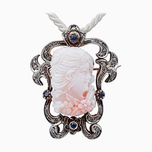 Coral, Sapphires, Diamonds and 14 Karat Rose Gold and Silver Brooch or Pendant