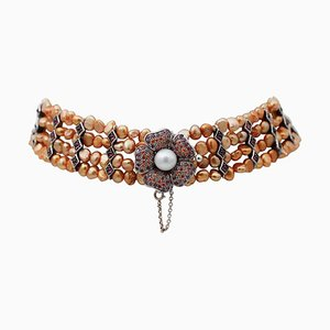 Collana girocollo con perle gialle, rubini, granati, pietre, perle bianche, oro e argento