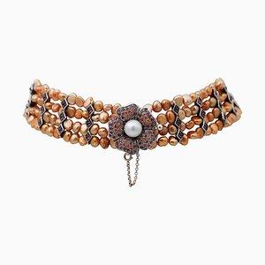 Gelbe Choker Halskette mit Perlen, Rubinen, Granaten, Steinen, weißen Perlen, Gold und Silber