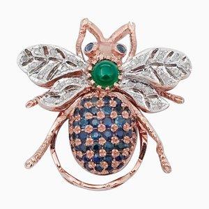 Anello a forma di mosca con diamanti, zaffiri e agata verde in oro rosa 9 carati e argento