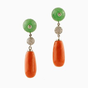 White Diamonds, Green Agate, Coral Drops and 14 Karat White and Rose Gold Drop Earrings