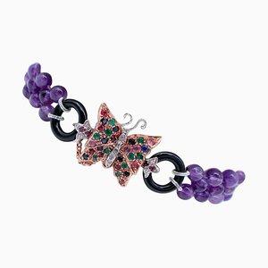 Bracciale con ametiste, diamanti, smeraldi, rubini, zaffiri e onice in oro 9 carati e argento