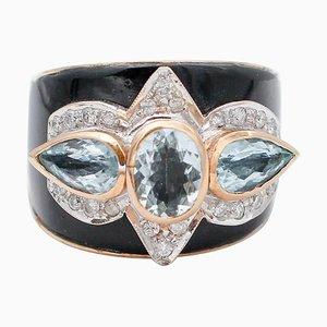 Bandring aus Aquamarin, Diamanten, Onyx und 14kt Rosé- und Weißgold