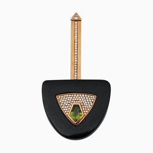 Diamonds, Peridot, Onyx and 18 Karat Yellow Gold Key-Shaped Brooch by A & A Turner