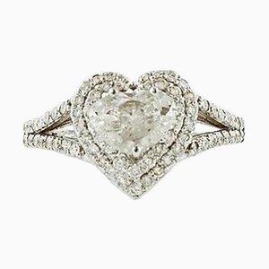 Anello di fidanzamento a forma di cuore in oro bianco e 18 carati