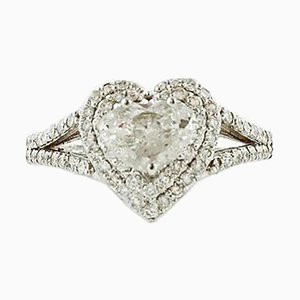 Diamond & 18 Karat White Gold Heart Engagement Ring