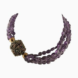 Handcrafted Intertwined Amethyst Necklace with Emerald, Rubies and Sapphires
