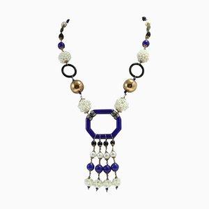 Collana di perle, onice, argento, oro e pietra