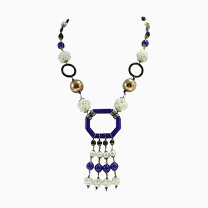 Collar de perlas, ónix, plata, oro y piedra
