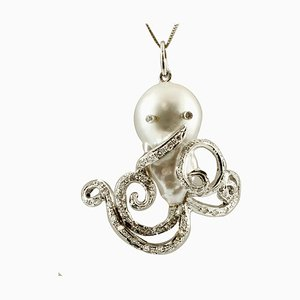Diamant, Barock Perle & 14 Karat Weißgold Octopus Anhänger