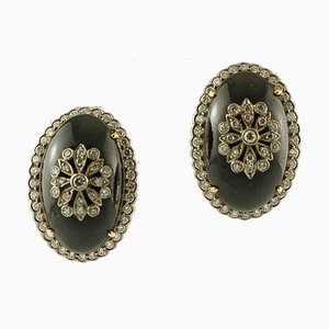 Onyx and Diamond & 14K White and Yellow Gold Earrings, Set of 2