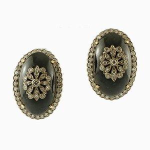 Onyx und Diamanten & 14 Karat Weiß- und Gelbgold Ohrringe, 2er Set