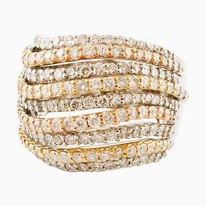 Diamant & 18 Karat Ring in Weiß-, Rosen- und Gelbgold