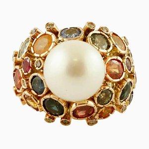 Anello con diamanti, zaffiri, perle dei mari del sud e oro giallo 14K