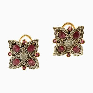 Diamond, Ruby, 9K Rose Gold and Silver Earrings, Set of 2