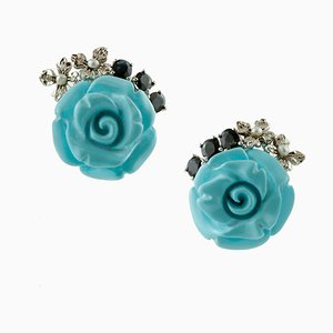 Turquoise Rose, Diamond and Blue Sapphire Earrings, Set of 2