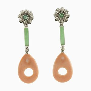 Green Jade, Emerald, Diamond, Pink Coral & White Gold Flower Drop Earrings, Set of 2